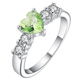 UFOORO Femme Heart Cut Green CZ Ring