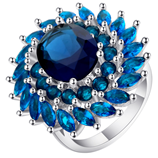 UFOORO Hyperbolic Blue Royal Flower Zircon Ring