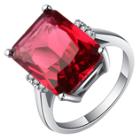 UFOORO Red Square Stone 4C Cut Claw High Quality Ring