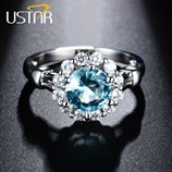 USTAR Blue Cubic Zirconia Ring