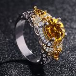 Unique Hollow Bee Yellow Stone Zircon Ring