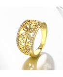 VALEN BELA Sharp Golden Zirconia Leaves Ring