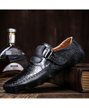 VANCAT Black Handmade Leather Comfortable Loafers