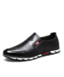 VANCAT Black Slip On Breathable Leather Designers Loafers