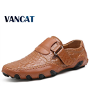 VANCAT Brown Handmade Leather Comfortable Loafers