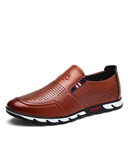 VANCAT Brown Slip On Breathable Leather Designers Loafers