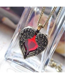 Vintage Wing Red Gem Heart Pendant