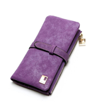 Violet Drawstring Leather Zipper Wallet