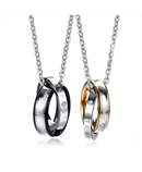 Vnox Engraved Pendant Interlocked Circle Couple Stainless