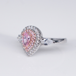 Water Drop Shape Pink Zircon Micro Paved Clear CZ Stone Ring