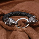 Wolf Head Stainless Steel Leather Bracelet