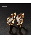 XIAGAO Golden Austrian Crystal Shiny Rhinestone Hoop Earrings