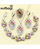 XUTAATI 925 Sterling Silver Flower Multicolor Stones Jewelry Set