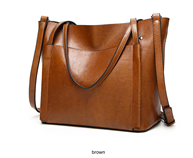 YASICAIDI Fashion Brown Oil Leather Shoulder Crossbody Bag