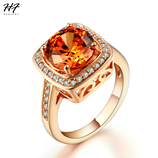 Yellow Crystal Rose Gold AAA Genuine CZ Crystal Ring