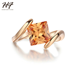 Yellow Cubic Zirconia Orange Gold Crystal Ring