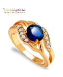 Yunkingdom Cubic Zirconia Crystal Blue Ring