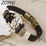 ZOSHI Pirate Anchor Genuine Leather Mens Bracelet